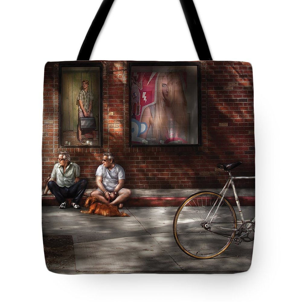Savad Tote Bag featuring the photograph City - Ny - Two Guys And A Dog by Mike Savad