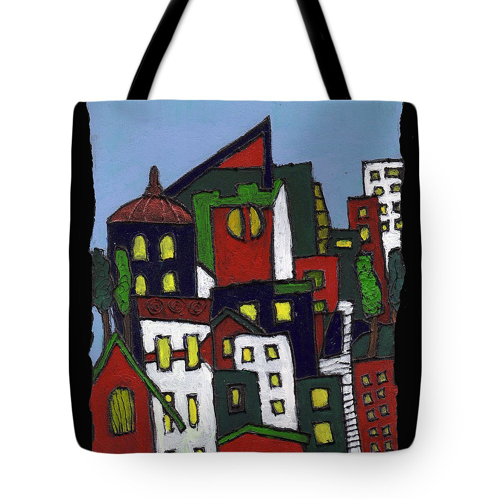 City Tote Bag featuring the painting City At Christmas by Wayne Potrafka