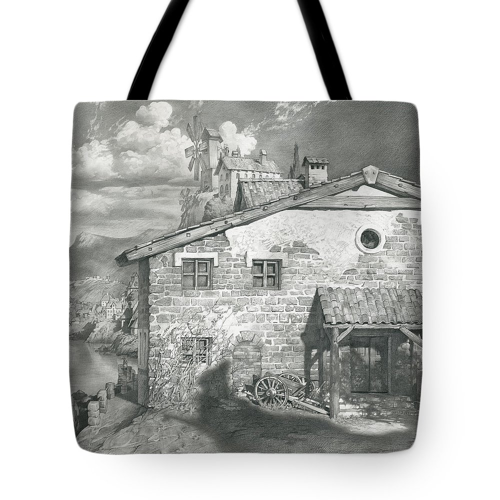 Windmill Tote Bag featuring the drawing City By The Sea by Denis Chernov
