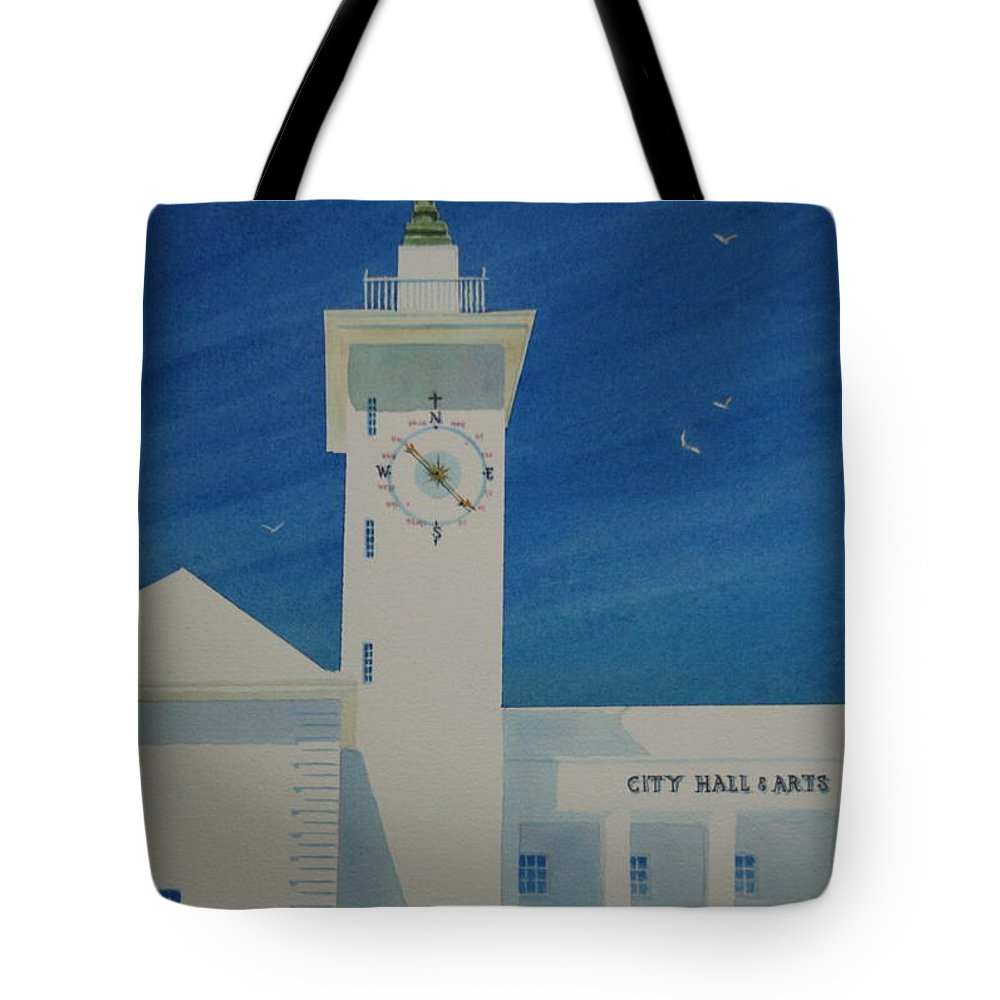 Bermuda Tote Bag featuring the painting City Hall And Arts Building Bermuda by Tom Harris