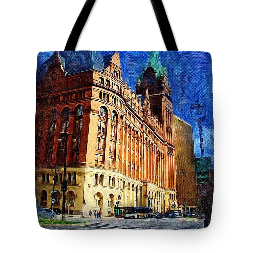 Architecture Tote Bag featuring the digital art City Hall And Lamp Post by Anita Burgermeister