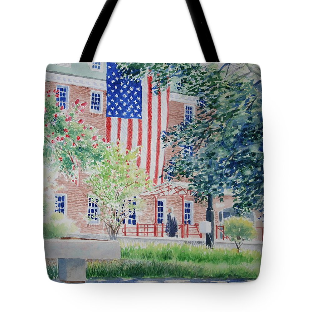 City Scape Tote Bag featuring the painting City Hall Old Town Alexandria Virginia by Tom Harris