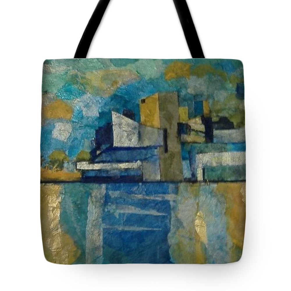 Tote Bag featuring the mixed media City In Harmony by Pat Snook