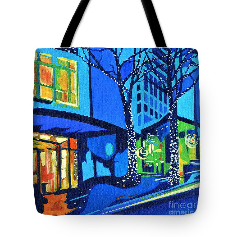 Contemporary Painting Tote Bag featuring the painting City Lights by Tanya Filichkin