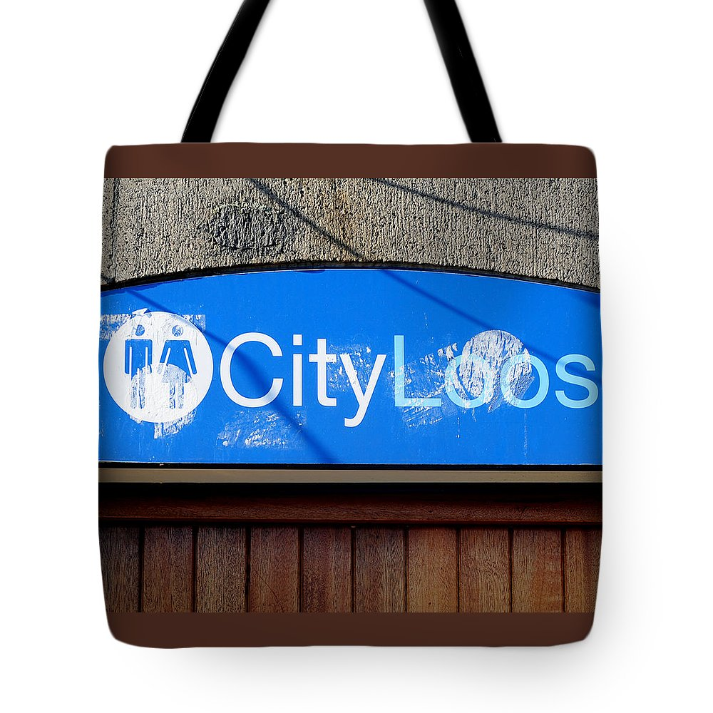 Color Photograph Tote Bag featuring the photograph City Loos by Dan Albright