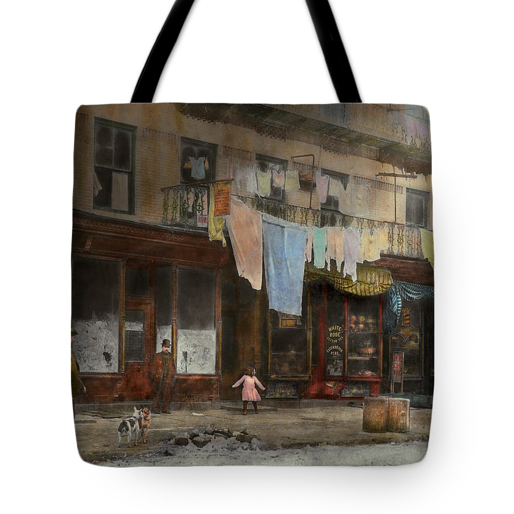Self Tote Bag featuring the photograph City - Ny - Elegant Apartments - 1912 by Mike Savad