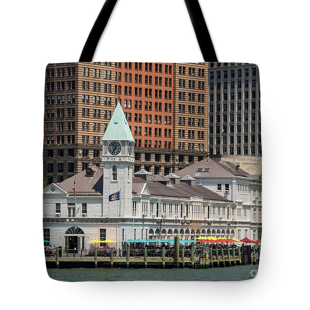 City Pier A Tote Bag featuring the photograph City Pier A And Pier A Harbor House In New York City by David Oppenheimer