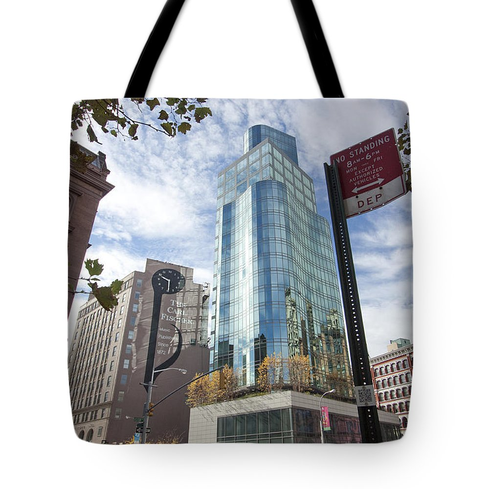 Buildings Tote Bag featuring the photograph City Reflections by Mary Haber