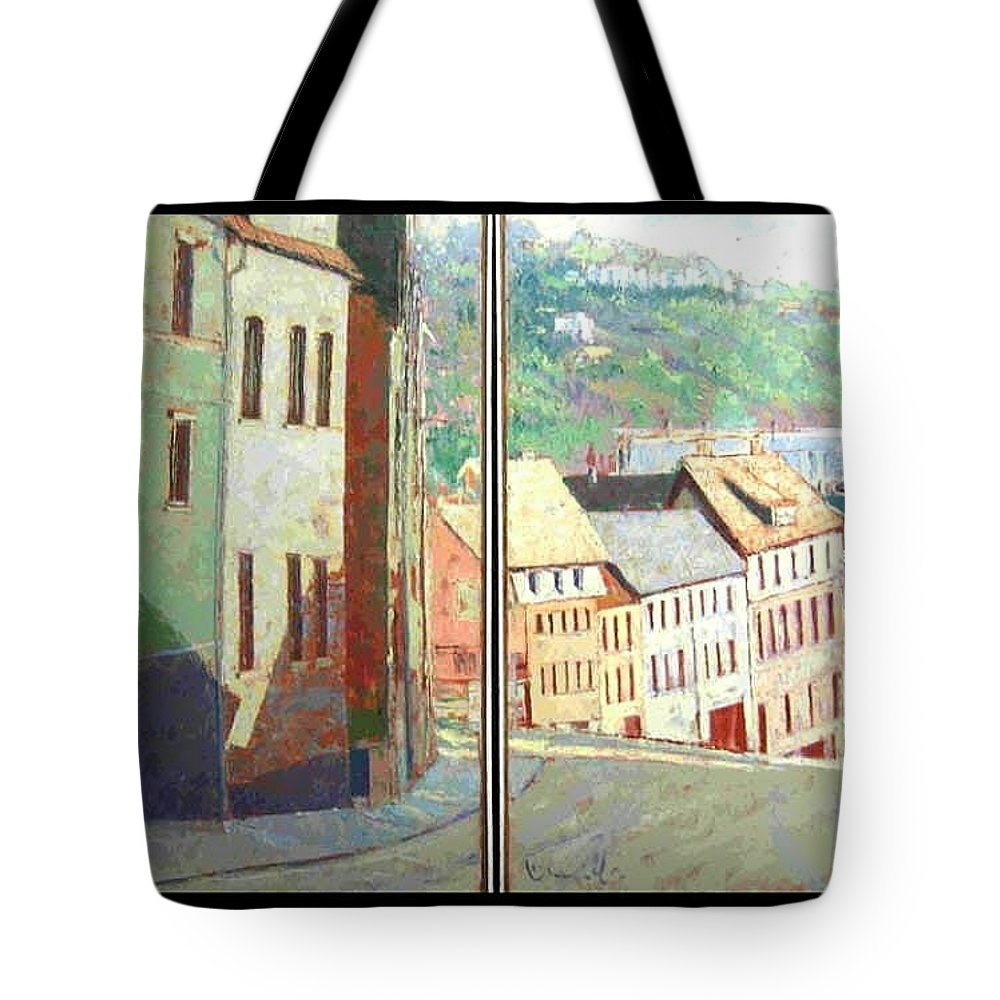 Buildings Tote Bag featuring the painting City Scape-dyptich by Walter Casaravilla