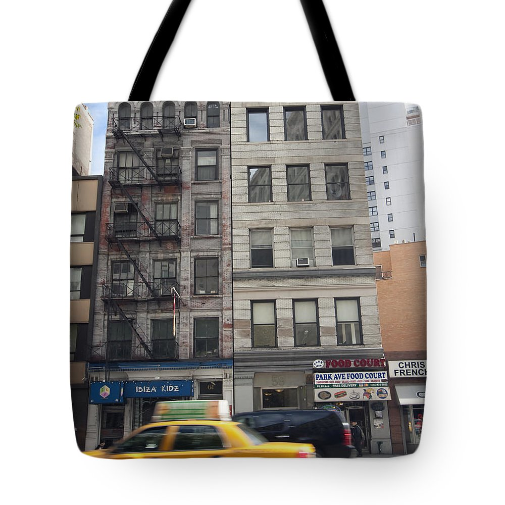 Taxi Tote Bag featuring the photograph City Street by Mary Haber