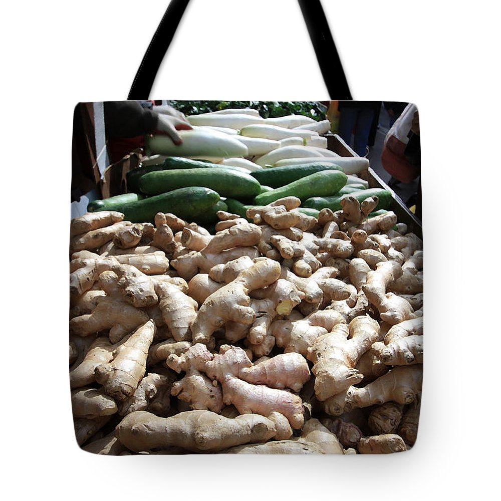 Storefront Tote Bag featuring the photograph City Vegetable Stand by Mary Haber