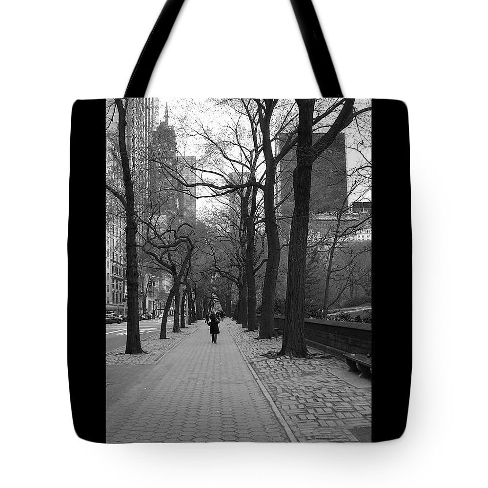 Black Tote Bag featuring the photograph City Walk by J Todd