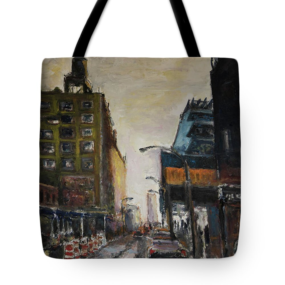 New York Tote Bag featuring the painting City With Barrels by Craig Newland