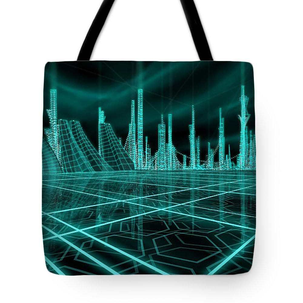 Science Fiction City Tote Bag featuring the painting Cityscape 2010 Alpha by James Christopher Hill