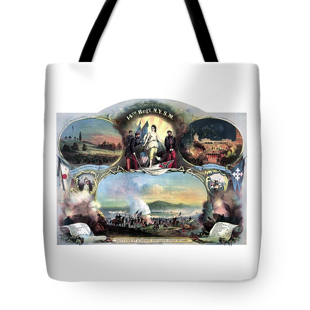 Civil War Tote Bag featuring the painting Civil War 14th Regiment Memorial by War Is Hell Store