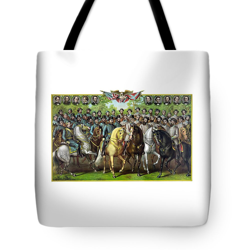 Civil War Tote Bag featuring the painting Civil War Generals And Statesman by War Is Hell Store