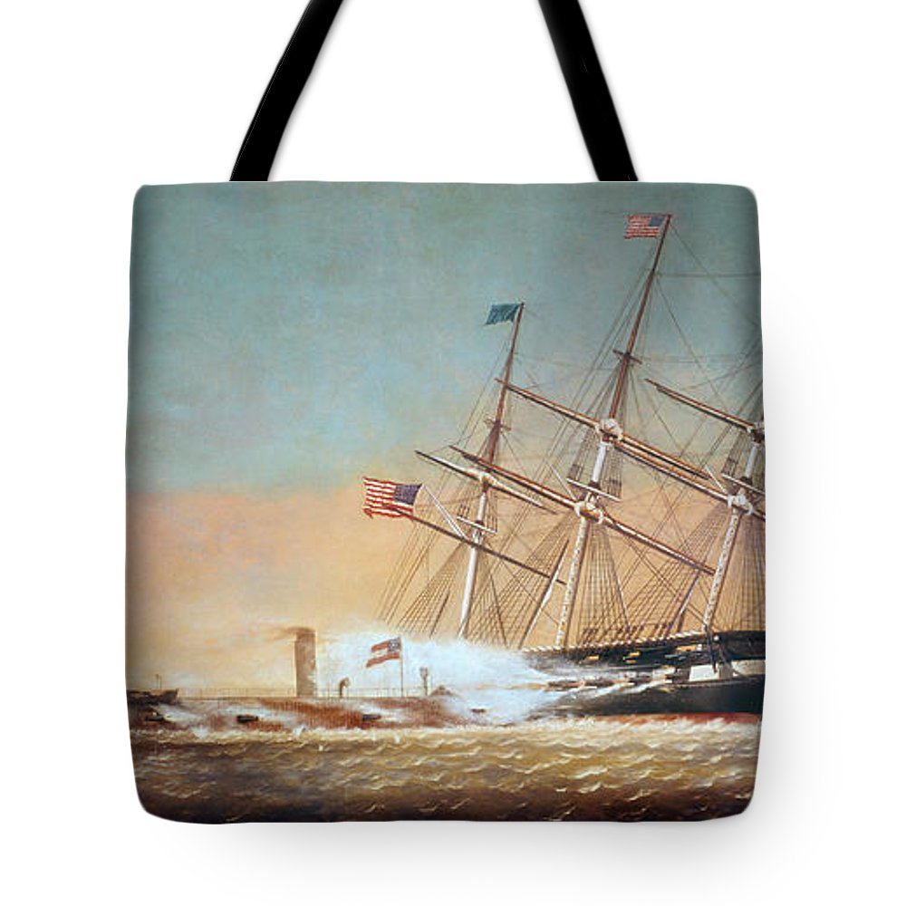 1862 Tote Bag featuring the painting Civil War Merrimack 1862 by Granger