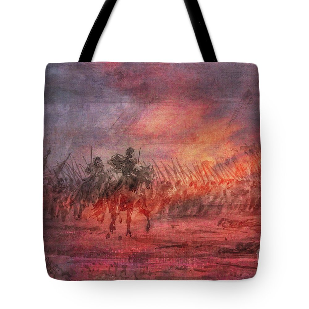 Civil War Union Charge Tote Bag featuring the digital art Civil War Union Charge by Randy Steele