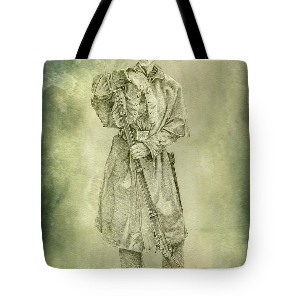 Civil War Union Soldier Ver 2 Tote Bag featuring the digital art Civil War Union Soldier Ver 2 by Randy Steele