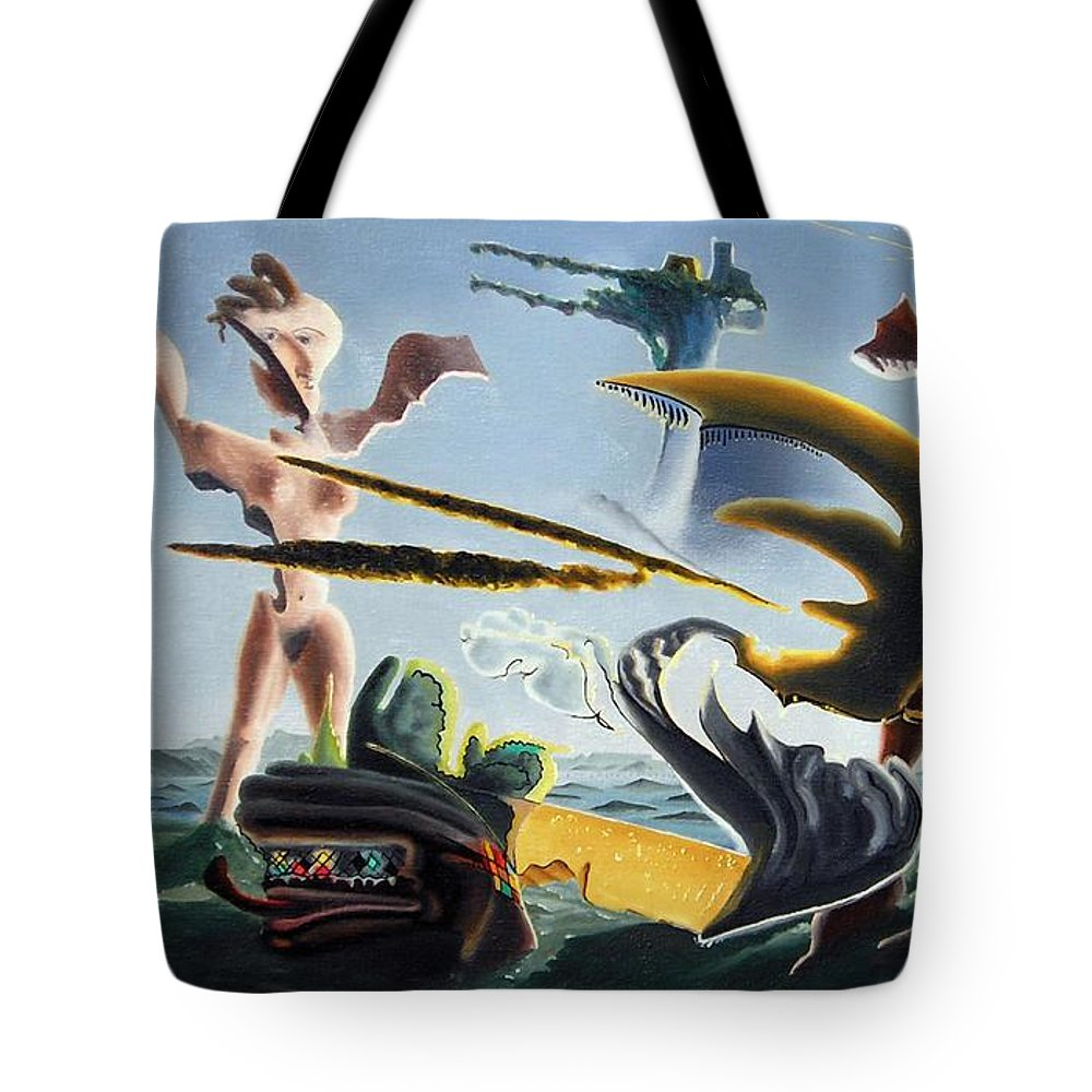 Landscape Tote Bag featuring the painting Civilization Found Intact by Dave Martsolf