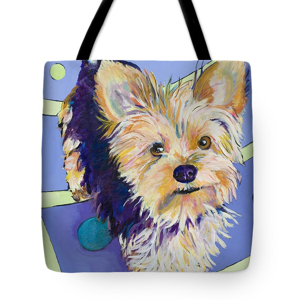 Pet Portraits Tote Bag featuring the painting Claire by Pat Saunders-White