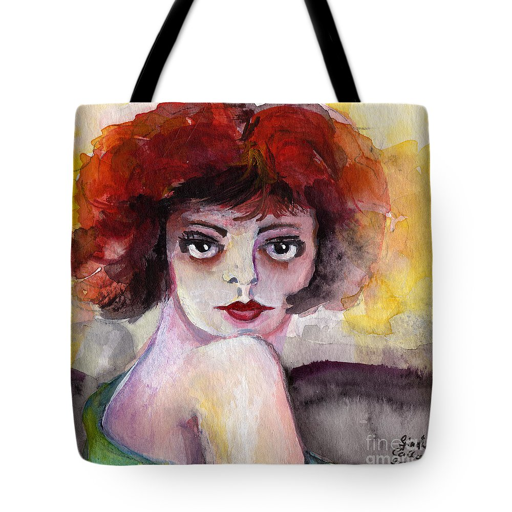 Clara Bow Tote Bag featuring the painting Clara Bow Vintage Movie Stars The It Girl Flappers by Ginette Callaway