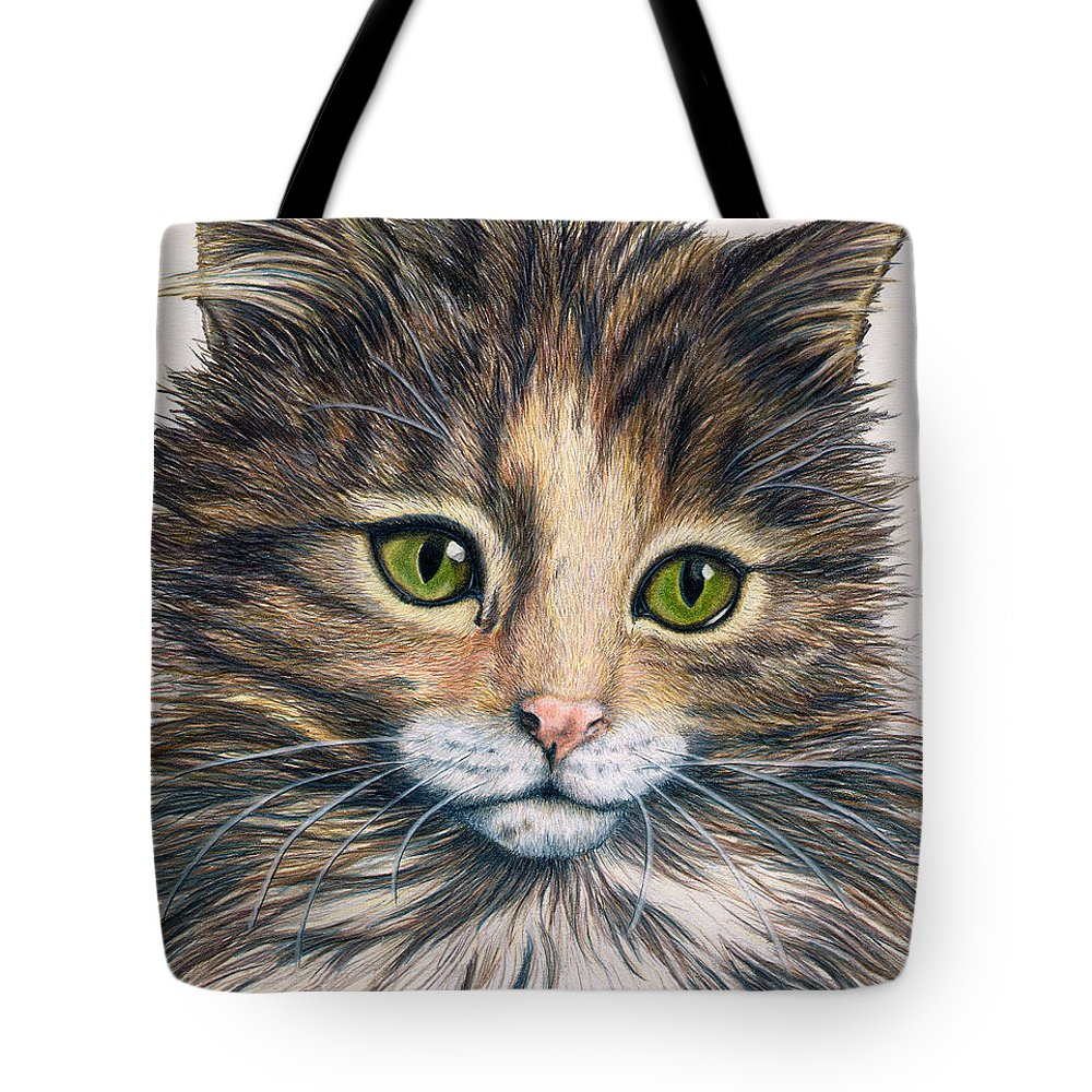 Cat Tote Bag featuring the drawing Clarice by Kristen Wesch