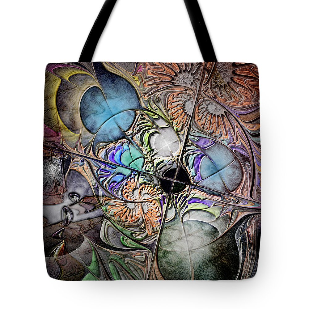 Abstract Tote Bag featuring the digital art Clash Of The Earthly Elements by Casey Kotas