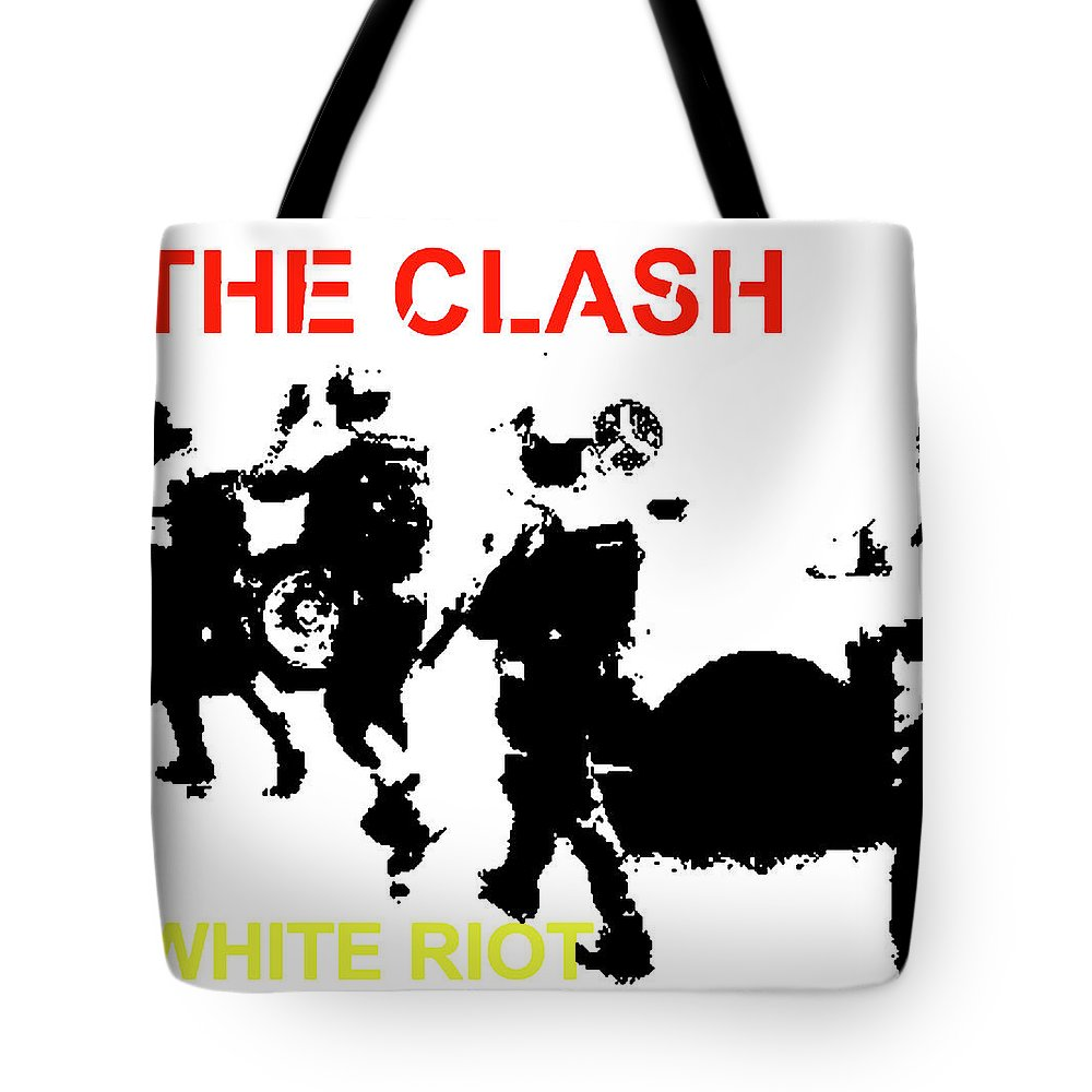 The Clash Tote Bag featuring the mixed media Clash White Riot by Enki Art
