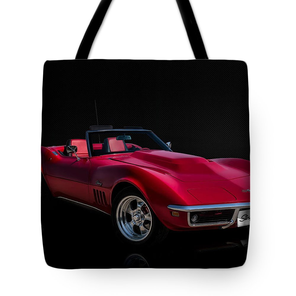 Red Tote Bag featuring the digital art Classic Red Corvette by Douglas Pittman