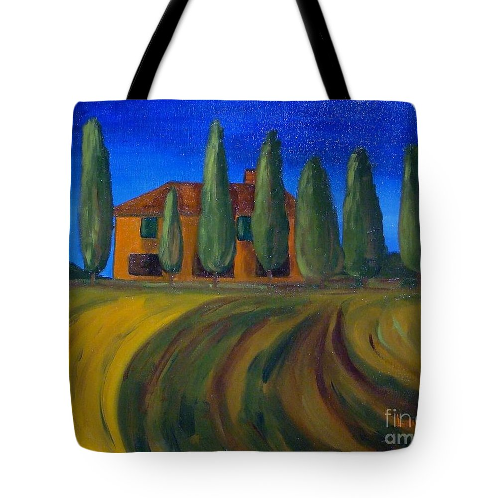 Tuscany Tote Bag featuring the painting Classic Tuscan Sunset by Laurie Morgan