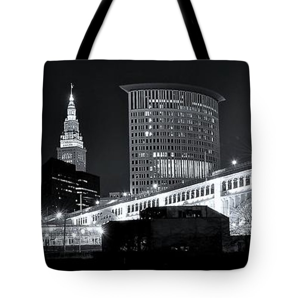 Cleveland Tote Bag featuring the photograph Classic View In Cle by Frozen in Time Fine Art Photography