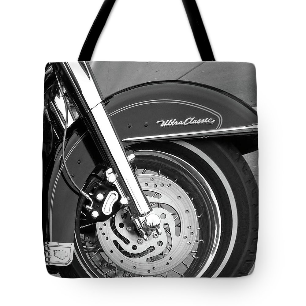 Motorcycle Tote Bag featuring the photograph Classic Wheel by Angela Wright