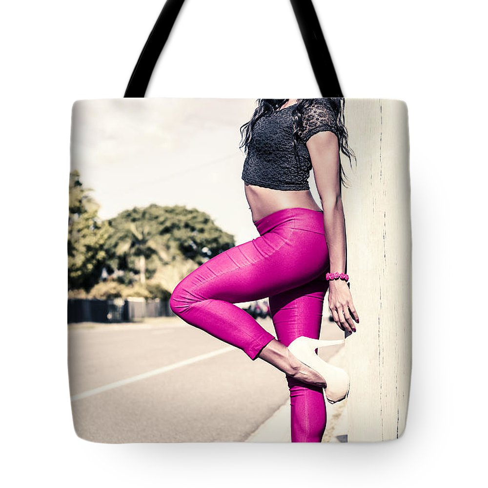 Fashion Tote Bag featuring the photograph Classy Model In Elegant Fashion Outfit By Road by Jorgo Photography - Wall Art Gallery