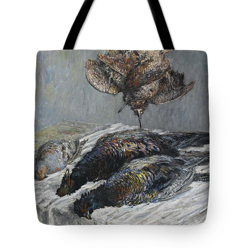 Art Tote Bag featuring the painting Claude Monet 1840 - 1926 Pheasant, Woodcock And Partridge by Claude Monet