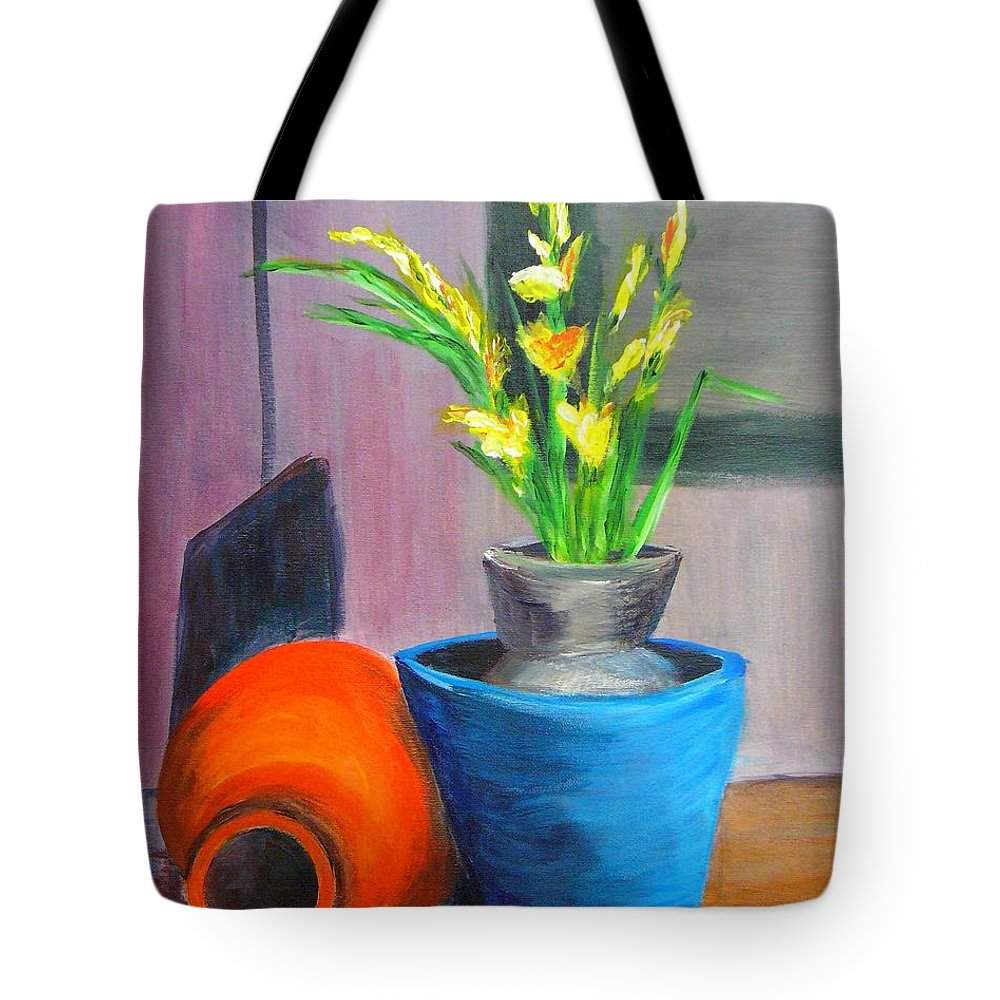 Abstract Tote Bag featuring the painting Clay Display by Peggy King