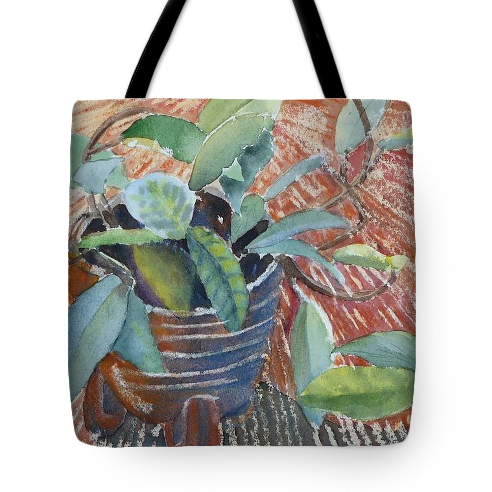 Vine Tote Bag featuring the painting Clay Pot by Ruth Kamenev
