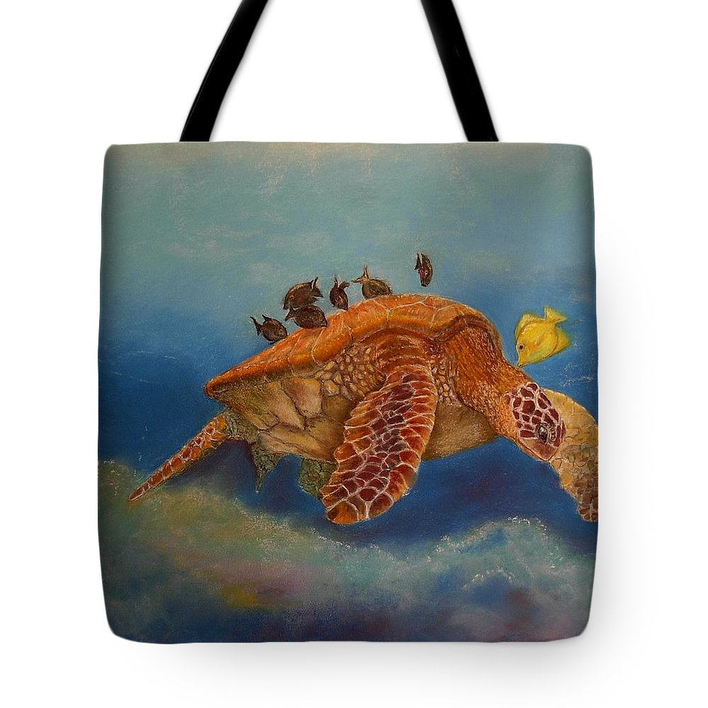 Turtle Tote Bag featuring the painting Cleaning Station by Ceci Watson