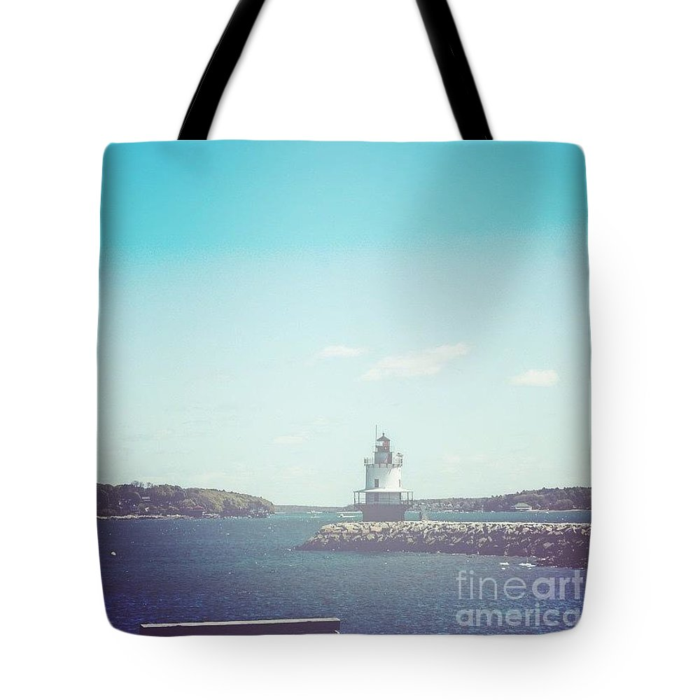 Spring Point Ledge Lighthouse Tote Bag featuring the photograph Clear Day At Casco Bay by Victory Designs