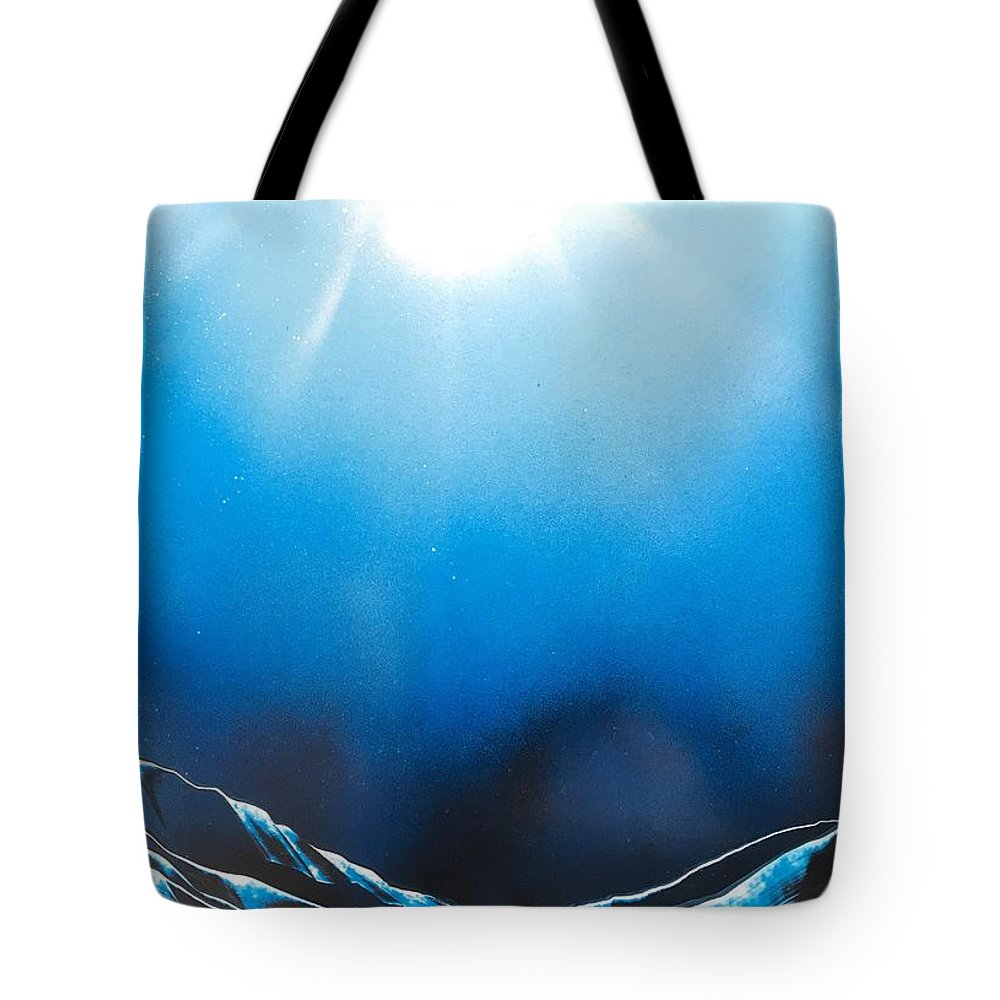 Ocean Tote Bag featuring the painting Clear Waters by Aki Spray Paint