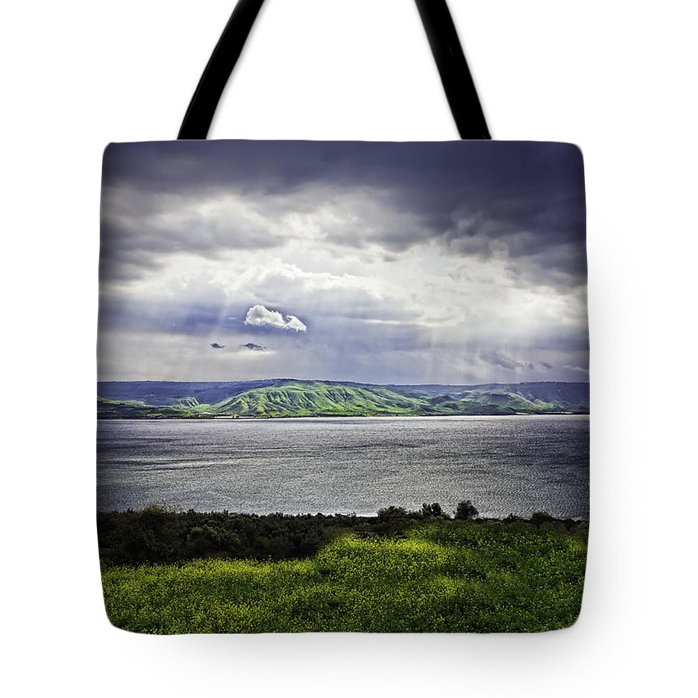 Mideast Tote Bag featuring the photograph Clearing Over Galilee by Jim Ruff