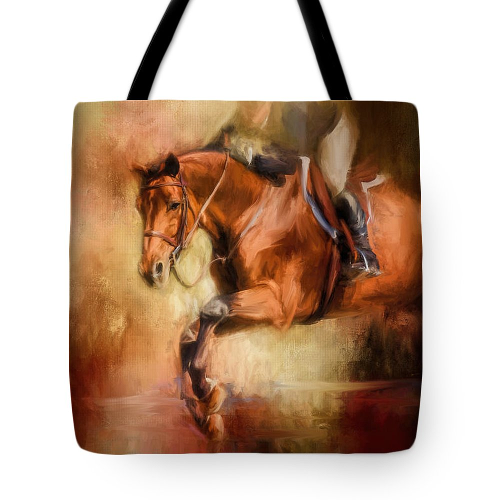 Jai Johnson Tote Bag featuring the painting Clearing The Jump Equestrian Art by Jai Johnson