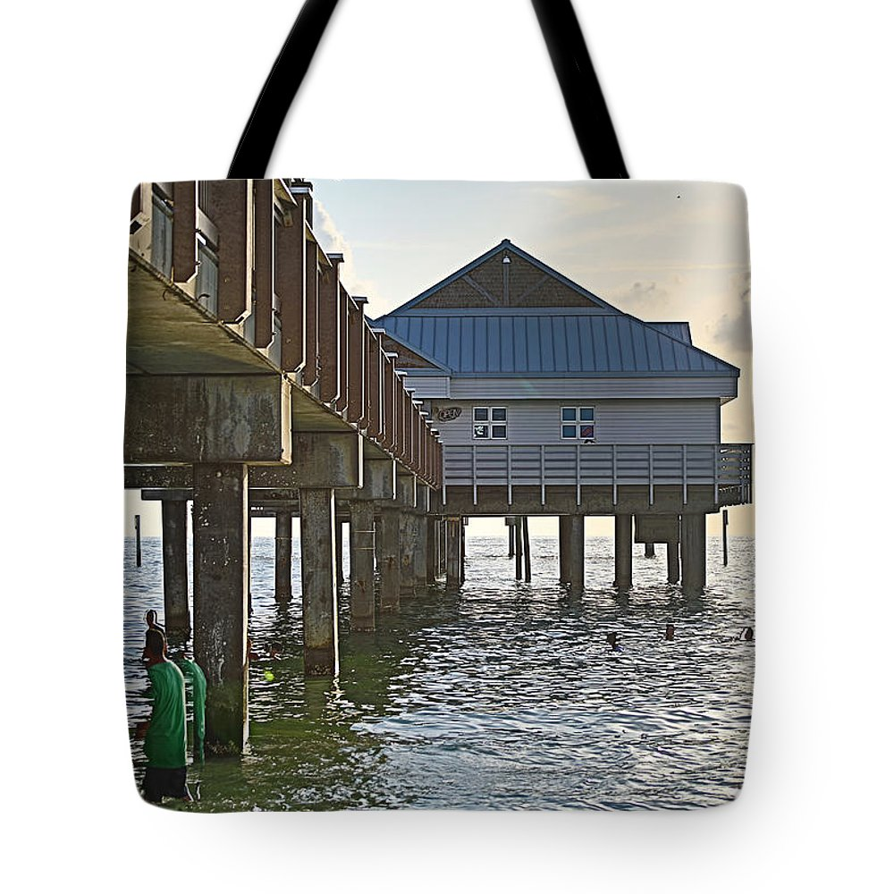 Bridge Tote Bag featuring the photograph Clearwater Beach Pier by J Darrell Hutto