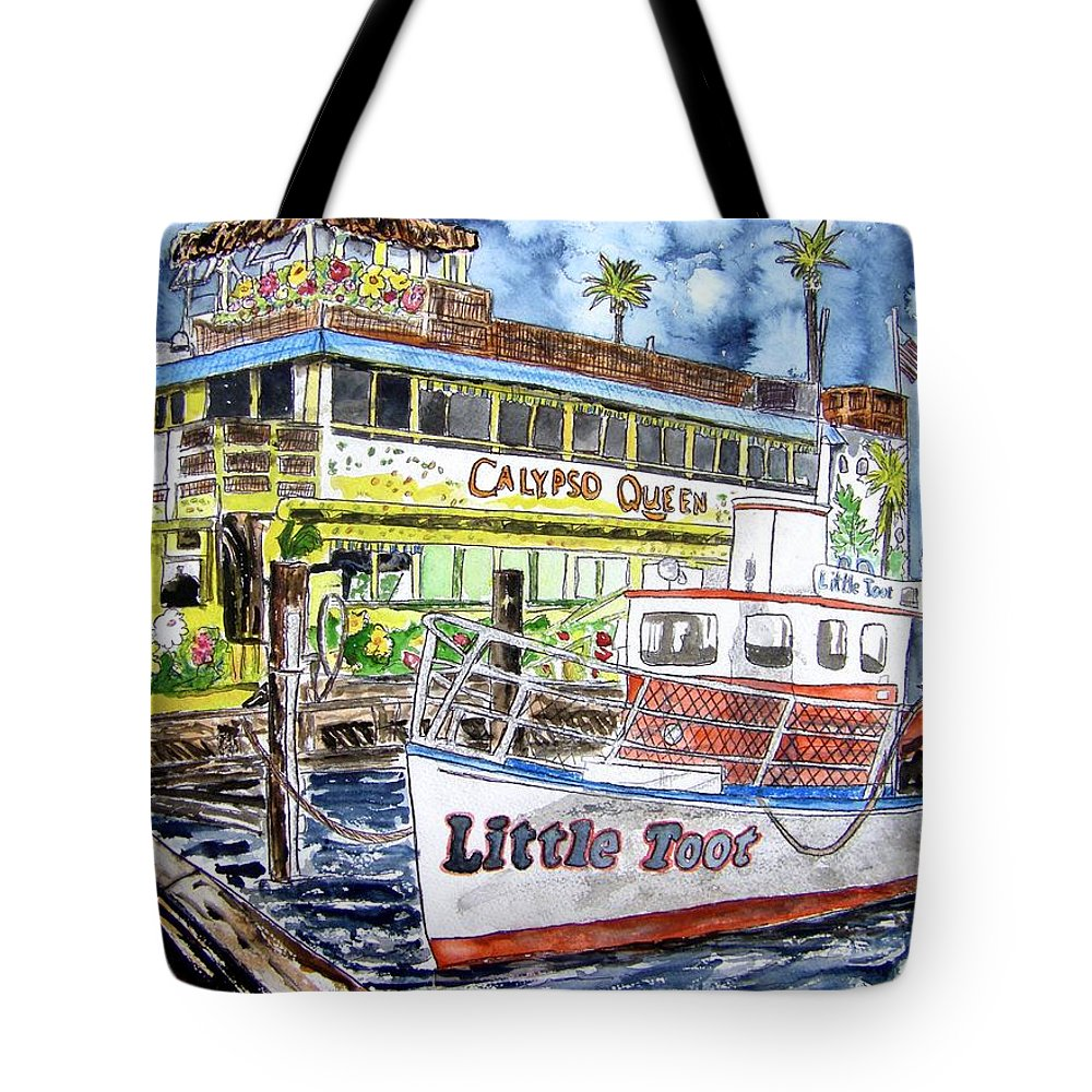 Seascape Tote Bag featuring the painting Clearwater Florida Boat Painting by Derek Mccrea