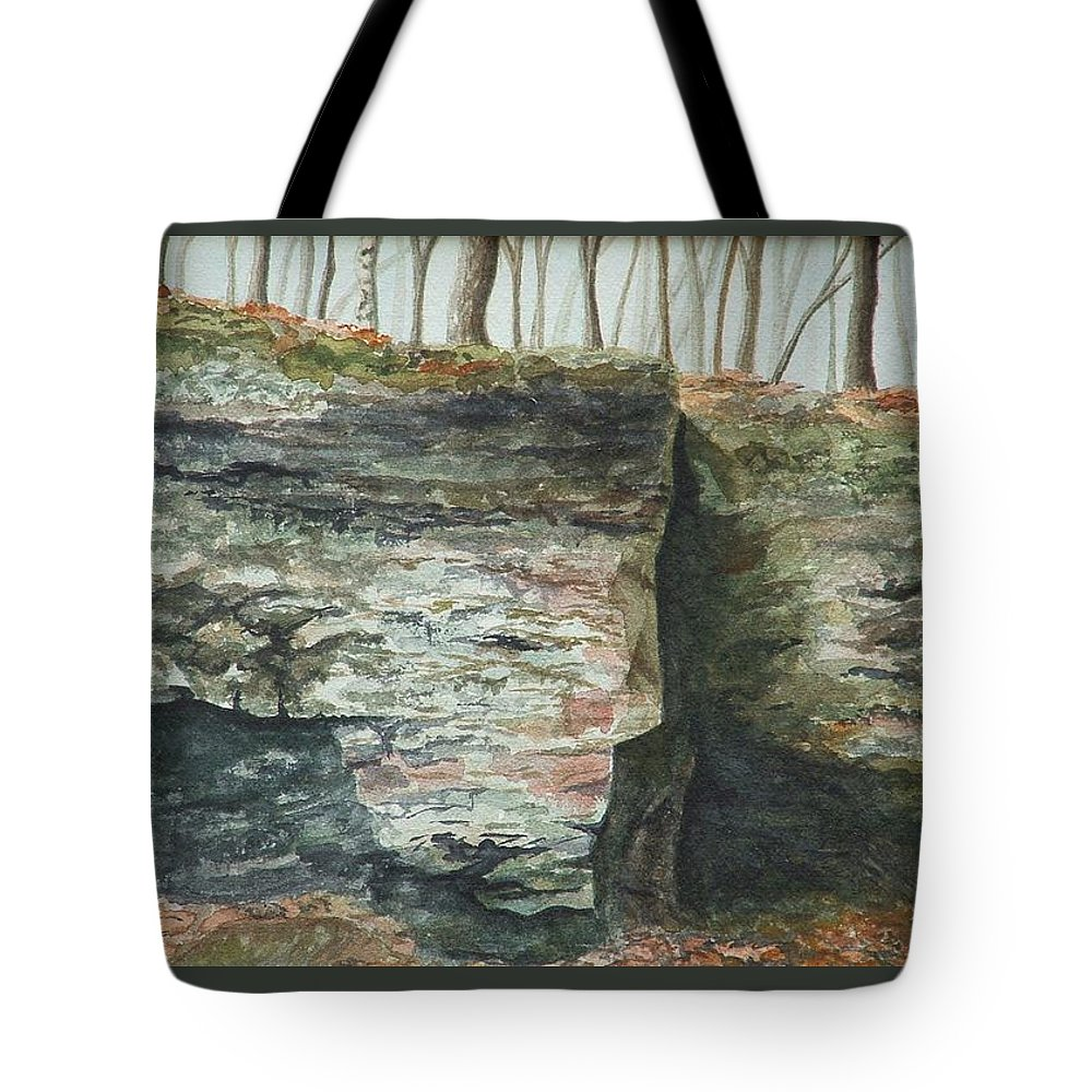 Watercolor Tote Bag featuring the painting Cleft. Rock Shelf Fissure And Autumn Leaves by Lynn ACourt