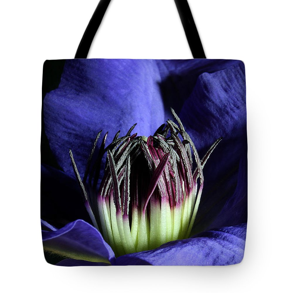 Nature Tote Bag featuring the pyrography Clematis 5 by Robert Morin