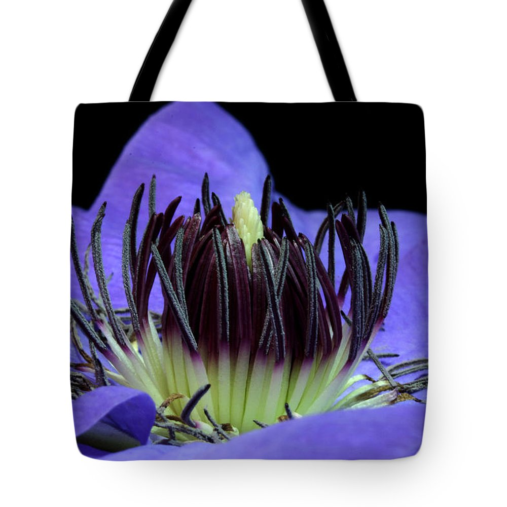 Nature Tote Bag featuring the pyrography Clematis 8 by Robert Morin
