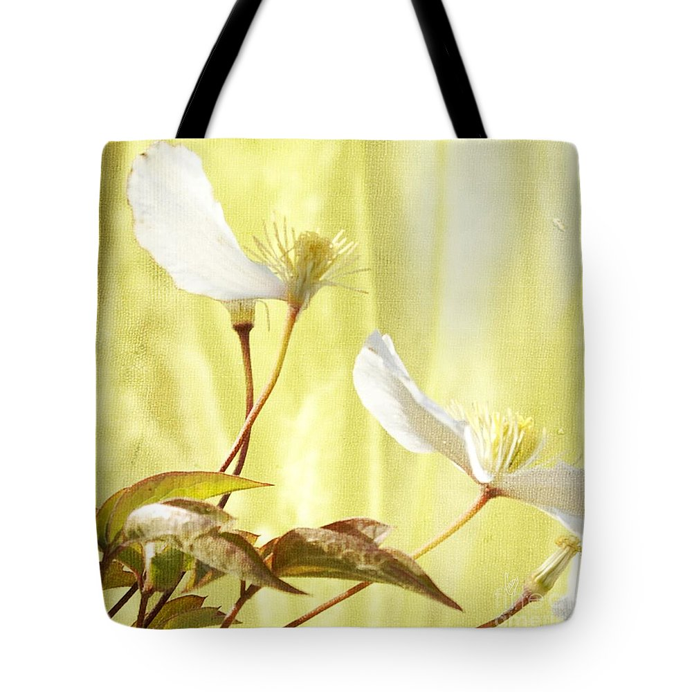 Clematis Tote Bag featuring the photograph Clematis And Sunshine by Cindy Garber Iverson