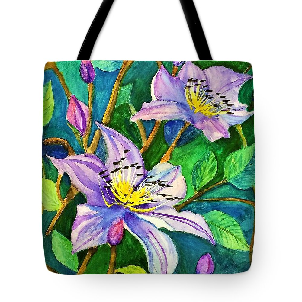 Purple Tote Bag featuring the painting Clematis For Elsie by Terri Huffman
