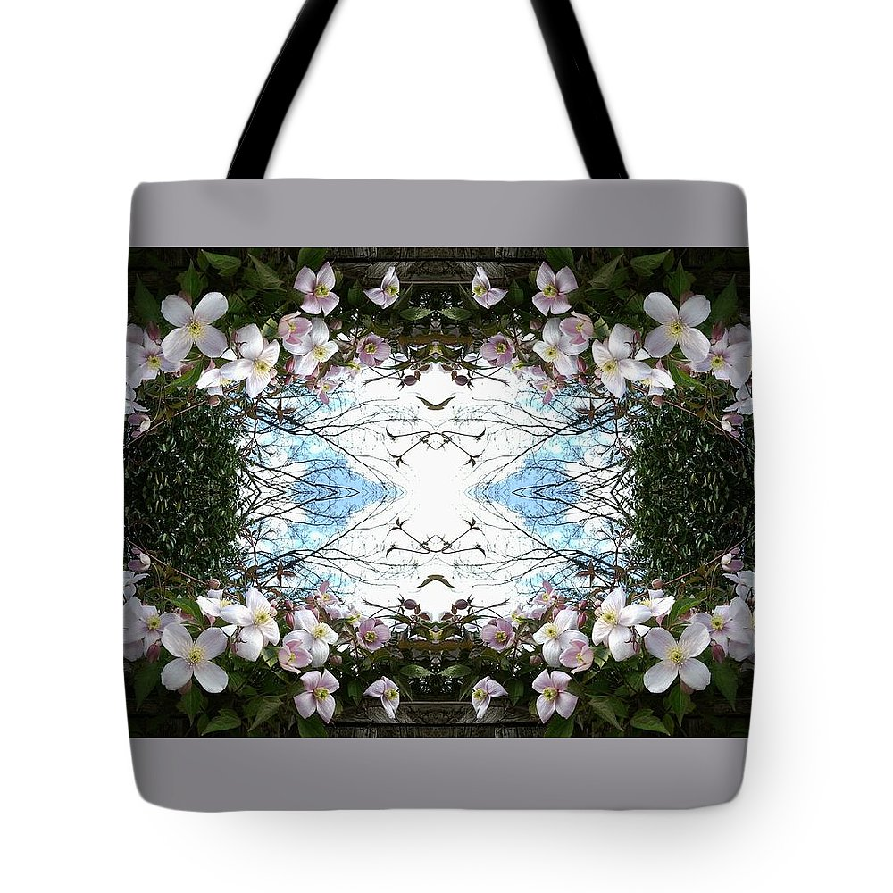 Clematis Tote Bag featuring the photograph Clematis Sky Window by Julia Woodman